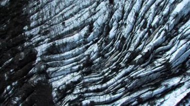 Aerial View of Glacial Flow Ash Blackened Ice, Iceland — Stock Video