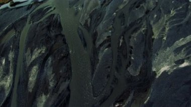 Aerial View of Glacial Meltwater River Deltas, Iceland — Stock Video
