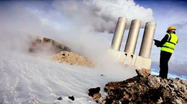 Geothermal Engineer Recording Data — Stock Video