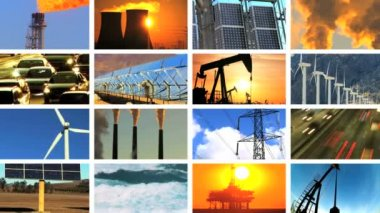 Montage of Contrasts in Clean Power & Fossil Fuel Pollution — Stock Video
