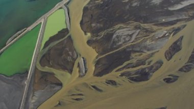 Aerial View of Volcanic Damage to Environment, Iceland — Vídeo Stock