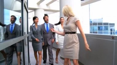 Female Business Executives Leading Team to a Meeting — Stock Video