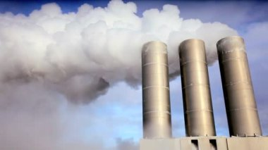Geothermal Power Station Chimneys — Stock Video