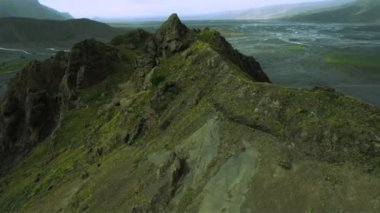 Aerial View of Volcanic River Deltas, Iceland — Stok video