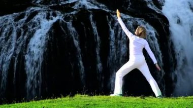 Female in White Relaxing with Yoga Outdoors — Stock Video