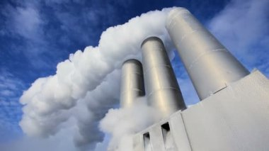 Chimneys & Steam at Geothermal Power Station — Stock Video