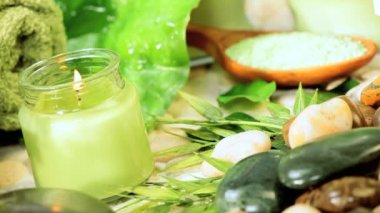 Selection of Spa Products for Tranquility & Relaxation — Stock Video
