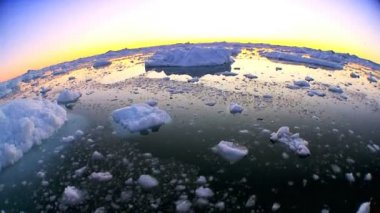 Sunset & Arctic Ice Floes in Wide Angle — Stock Video