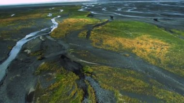 Aerial View of Growth in Meltwater from Volcanic Ash, Iceland — Stock Video