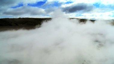 Underground Volcanic Steam Rising Above the Landscape — Stock Video