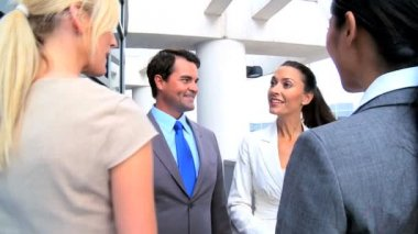 Business Meeting on Office Atrium — Video Stock