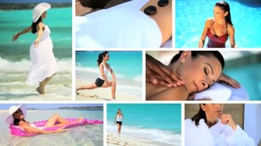 Montage of Luxury Female Fitness & Recreation Lifestyle — Stock Video