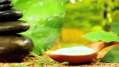 Zen Spa Atmosphere of Stones, Cleansing Salts & Oils — Stock Video