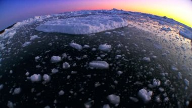 Wide Angle Arctic Ice at Sunset — Stock Video