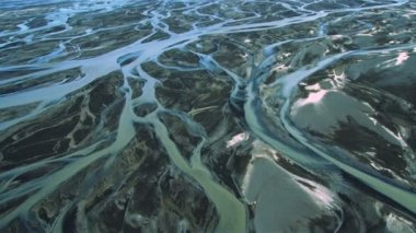 Aerial View of Glacial Meltwater in River Deltas, Iceland — 图库视频影像