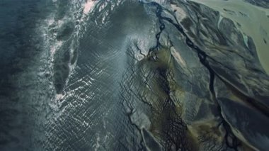 Aerial View of Barren Icelandic Landscape & Volcanic Ash — Stock Video