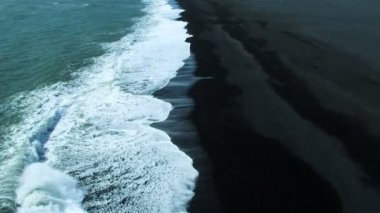Aerial View of Black Volcanic Ash Beach in Iceland — Stock Video