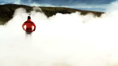 Female Hiker Viewing Hot Volcanic Steam — Stock Video