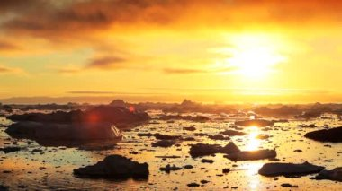 Golden Sunset over Melting Ice Floes — Stock Video