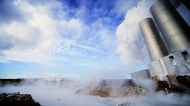 Geothermal Power Station in Barren Landscape — Stock Video