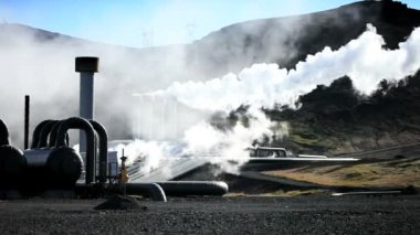 Steam From Geothermal Power Plant — Stock Video