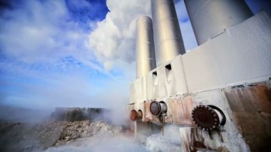 Chimneys at Geothermal Power Plant — Stock Video