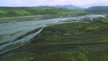 Aerial View of Glacial Meltwater Carving through Icelandic Plains — Stock Video