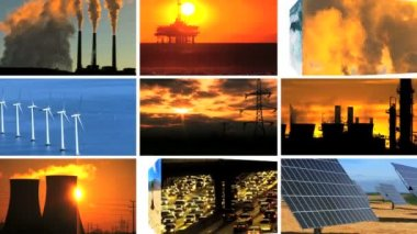 Montage of Contrasting Effect of Clean Power Production & Fossil Fuel Pollution — Stock Video