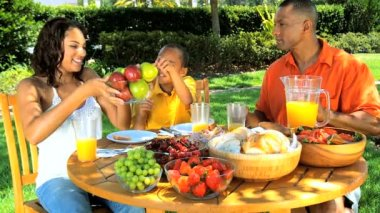 Young Ethnic Family Enjoying a Healthy Lunch Outdoors — Stock Video