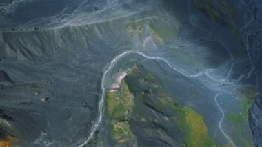 Aerial view of Effect of Volcanic Activity, Iceland — Stock Video