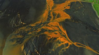 Aerial View of Icelandic Glacial River Mineral Sediments — Stock Video
