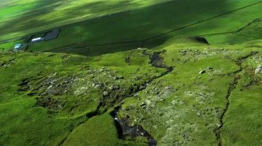 Aerial View of Rugged Ridges of Central Iceland — Stock Video