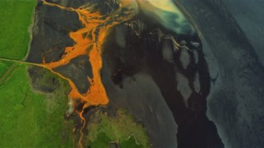 Aerial View of Glacial River Mineral Sediments, Iceland — Stock Video