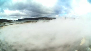 Swirling Steam from Hot Volcanic Springs — Vídeo de stock
