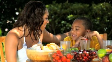 Young Ethnic Mother & Son Healthy Eating Lunch — Stock Video