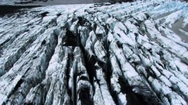 Aerial View of Ash Covered Arctic Glaciers — Stock Video
