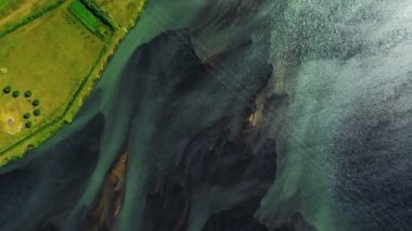 Aerial View of Agricultural Land & Meltwater, Arctic Region — Stock Video