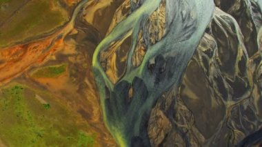 Aerial View of Mineral Deposits in River Deltas, Iceland — Stock Video