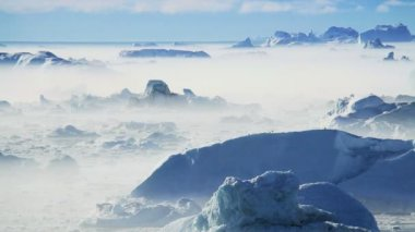 Freezing Air Lying Between Ice Floes & Icebergs — Stock Video