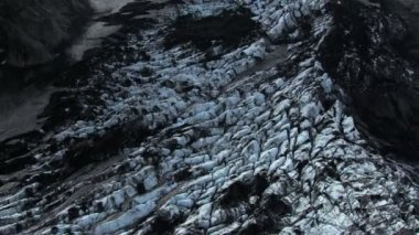 Aerial View of Mountain Ridges & Melting Glaciers, Iceland — Stock Video