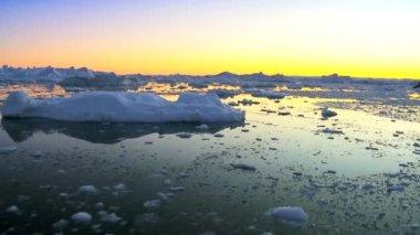 Dusk Over Frozen Arctic Glacial Ice — Stock Video