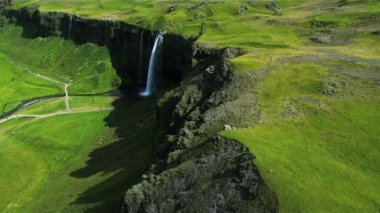 Aerial View of a Plateau Waterfall, Iceland — Stock Video