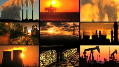 Montage of Clean Energy Production & Fossil Fuel Pollution — Stock Video