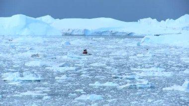 Nautical Vessel Between Ice Floes — Stock Video