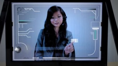 Future Touchscreen Technology with Asian Woman — Stock Video
