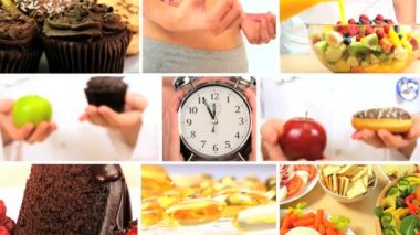 Montage of Choices Between Healthy & Unhealthy Foods — Stock Video