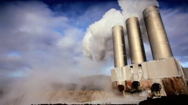 Steam from Geothermal Power Plant Chimneys — Stock Video
