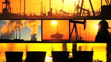 Montage of Oil Fossil Fuel Production at Sunset — Stock Video