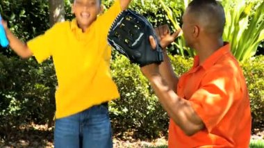African American Father & Son Practicing Baseball — Stock Video