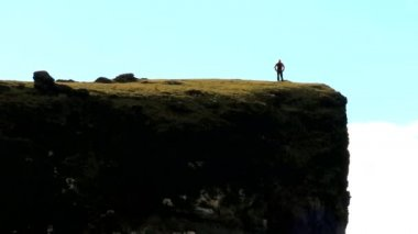 Distant Lone Hiker on Fertile Plateau — Stock Video